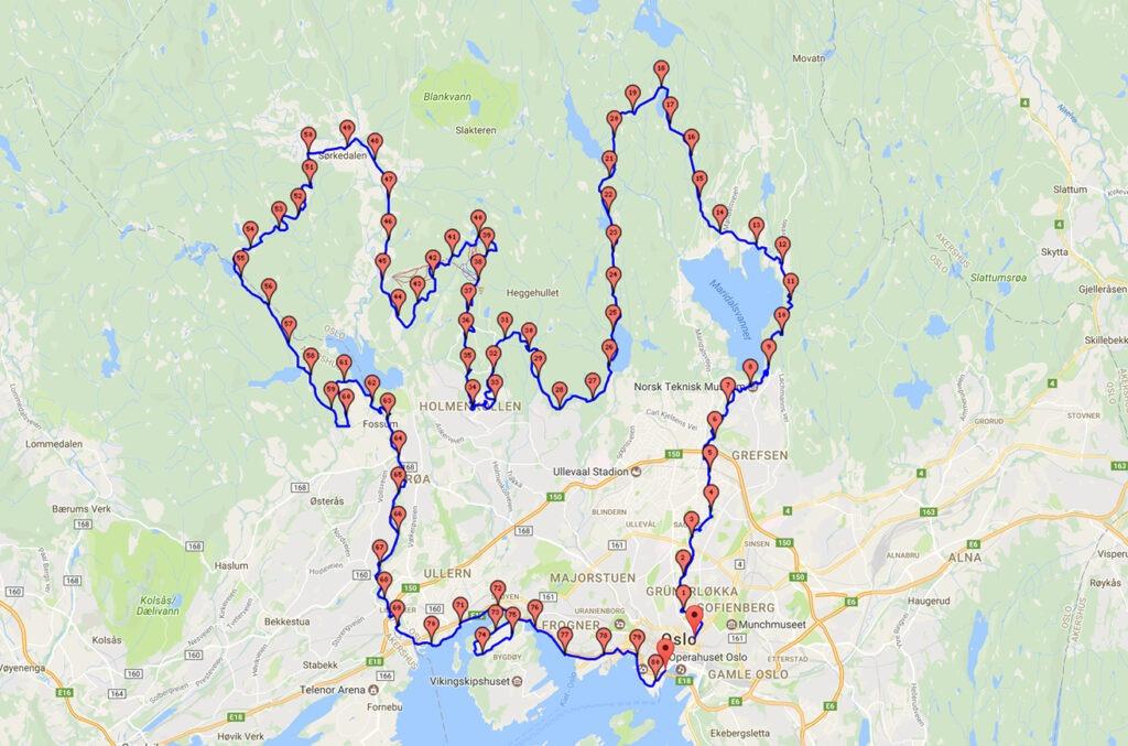 Oslo Ecotrail 80km 2017 Route